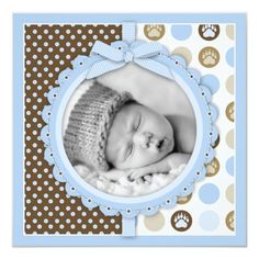 Shop Boy Paw Print Polka Dots Birth Announcement Square created by LullabyeDreams. Personalize it with photos & text or purchase as is! Baby Boy Scrapbook, Birthday Scrapbook Pages, Baby Scrapbook Pages, Scrapbook Templates, Scrapbook Designs, Scrapbook Page Layouts, Kids Scrapbook Ideas, Diy Scrapbook, Baby Boys