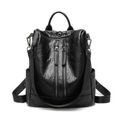 Women Solid Travel Leisure Soft Leather Multi-function Backpack Large Capacity Shoulder Bag shows femininity. Shop on NewChic and buy yourself the best women backpack. Sling Backpack Purse, Leather Backpack Purse, Shoulder Backpack, Leather Purses, Leather Bag, Soft Leather, Leather Backpacks, Anti Theft Backpack, Vintage Backpacks