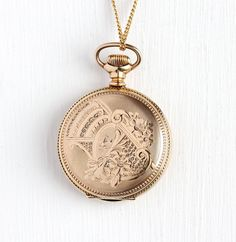 Antique Watch Case - Victorian 14k Rose Gold Filled Dueber Hunter Pocket Watch Case - Vintage Flower Sailboat Jewelry on Long 24 In GF Chain by Maejean Vintage on Etsy