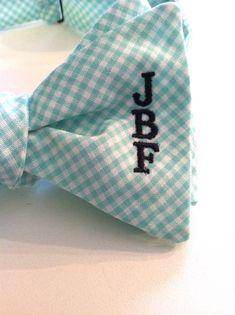 Monogrammed Bow Tie Mint Green Gingham by SteepleBayDesigns