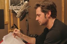 Richard Armitage at work on the Hamlet audiobook, 2014.