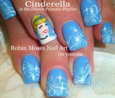 Nail Art Tutorial | Cinderella Nails | Disney Princess Nail Design