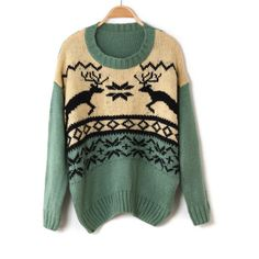 Holiday Green Reindeer Knit Crew Neck Sweater from Merlow Avenue. Saved to Epic Wishlist. Ugly Sweater, Pullover Sweaters, Reindeer Sweater, Real Reindeer, Cardigans, Graphic Sweaters, Mode Inspiration, Christmas Sweaters, Cozy Christmas