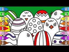 Drawing Easter Eggs | Chicken Drawing | Easter Coloring Pages - YouTube