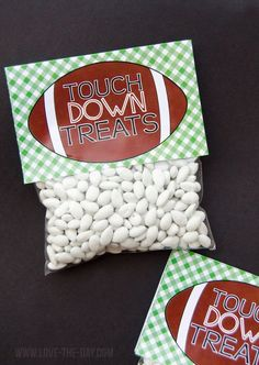 Get ready for the BIG Game with these free printable football party favors! Fill a cellophane bag with treats, print the free printable and staple! MichaelsMakers Love The Day Football Goody Bags, Football Party Favors, Football Treats, Football Birthday, Goodie Bags, Football Spirit, Kids Football Parties, Football Wedding, Tailgate Parties