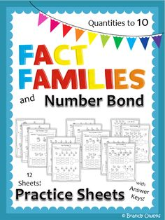 Fact Families and Number Bonds to Ten Practice Sheets
