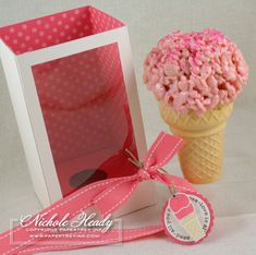 """ice cream"" cone using rice krispy treats with strawberry marshmallows."
