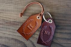 Custom Personalized Leather Luggage Tag, Initials Key Chain, Wedding Party Favor, Keychain, Leather Keyring, best mom, wreath, Laurel, Name by RSVPhandcrafted on Etsy https://www.etsy.com/listing/197801019/custom-personalized-leather-luggage-tag
