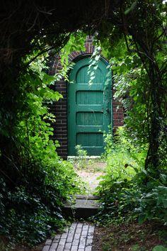 A travers un tunnel de verdure, on arrive à la porte turquoise?