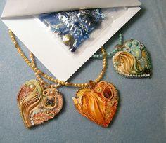 Kit for Romantic Heart, embroidery and shibori pendant