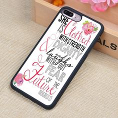 Christian Quote She is Clothed with Strength Phone Case Shell For iPhone 6 6S Plus 7 7 Plus 5 5S 5C SE 4 4S Rubber Soft Cover