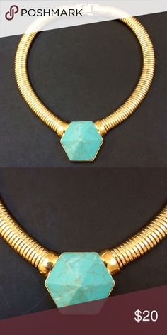 "AQUA Pendant Necklace 16"" Gold plated // Approx. 16""L x 3/4""W // Clasp closure Never worn Aqua Jewelry Necklaces"