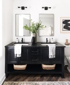 Black Vanity Bathroom, Black White Bathrooms, Grey Bathrooms, 1950s Bathroom, Black And White Master Bathroom, Black Cabinets Bathroom, Charcoal Bathroom, Target Bathroom, Bathroom Vanity Designs