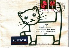 Cat envelope from Germany Envelope Lettering, Calligraphy Envelope, Envelope Art, Mail Art Envelopes, Addressing Envelopes, Letter Writing, Letter Art, Art Postal, Pen Pal Letters