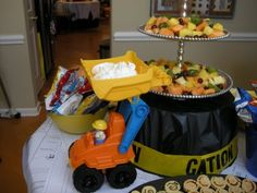 Construction birthday party - I love the idea of the cardboard box station where kids can meddle with painting and constructing
