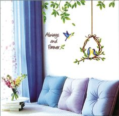 Birdcage, DIY Korean style Wall sticker, removable wallpaper for living room, TV backgroud, WS-06