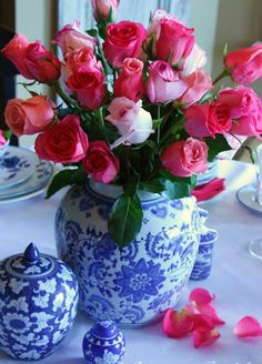 two fav things...blue and white ginger jar and rose bouquet