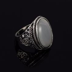New Arrival Antique Silver Signet Rings Luxury Opal Turquoise Accessories For Men Boys Cool Biker Jewelry anel masculino