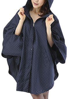 Women's Waterproof Packable Rain Jacket Batwing-sleeved Poncho Raincoat http://buttermintboutique.com/fashion-rain-coat-2/