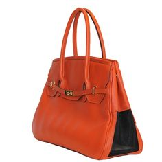 The Katie Collection Orange Dog b Bag in All Pebbled Leather for Your Chic Pooch, and Made in America