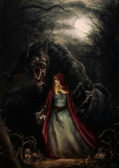 Riding hood and the wolf. Oooh, so creepy, yet very cool.