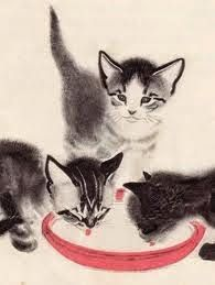 kittens drinking - cat art by Clare Turlay Newberry I Love Cats, Crazy Cats, Cute Cats, Adorable Kittens, Gatos Cat, Image Chat, Art Et Illustration, Cat Illustrations, Watercolor Cat