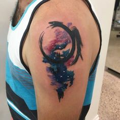 Chronic Ink Tattoo - Toronto Tattoo  Watercolour/brushstroke ouroboros galaxy tattoo done by Martin.
