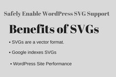 SVG is an XML-based vector image which is commonly used by  websites and brands to display logos and icons on their websites.  SVG use in a Popular site such Google, Reddit, Dropbox, ESPN etc.  SVG Browser Support ▪ Internet Explorer 9, 10, 11+ and Edge ▪ Firefox 3+ ▪ Chrome 4+ ▪ Safari 3.2+ ▪ Opera 10+ ▪ iOS Safari 3.2+ ▪ Opera Mini (all) ▪ Android Browser 4.4+  Benefits of SVGs ▪ SVGs are a vector format. ▪ Google indexes SVGs, which is great news for SEO purposes. ▪ WordPress Site…
