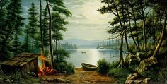 Image detail for -... Camping at Schroon Lake Painting by Levi Wells Prentice | Oil Painting