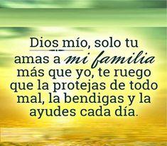 Dios mio, solo tu amas a mi familia mas que yo, te ruego que la protejas de todo mal, la bendigas y la ayudes cada día.