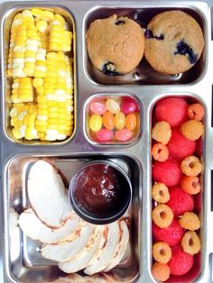 Chicken with BBQ Sauce, raspberries, dye-free tummies, blueberry mini muffins and corn