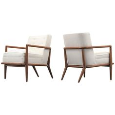 Pair of T.H. Robsjohn-Gibbings Lounge or Armchairs, Commissioned | From a unique collection of antique and modern lounge chairs at https://www.1stdibs.com/furniture/seating/lounge-chairs/