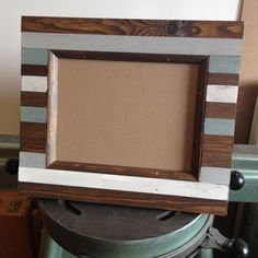 Striped wood photo frame