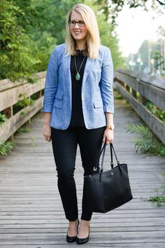 chambray blazer with black shell and pants