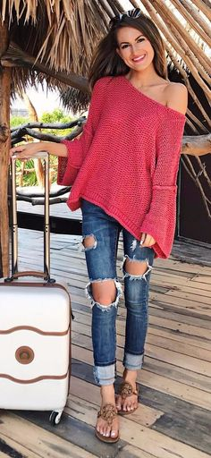 one-shoulder obsession   red knit   rips