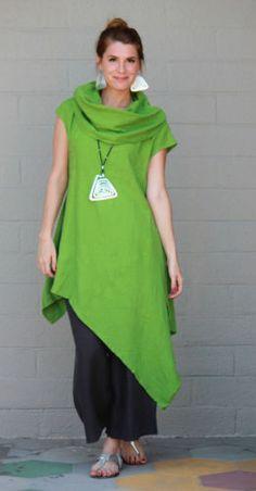 BRYN WALKER Light Linen NOA TUNIC Long Angle Hem Dress S M L XL QUINOA