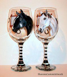 Hand Painted Glasses Custom Pet Portrait by SharonsCustomArtwork