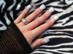 Call me crazy but im into jersey nails! Fan Nails, Love Nails, Gorgeous Nails, Pretty Nails, Amazing Nails, Zebra Acrylic Nails, Really Long Nails, Toe Nail Designs, Nails Design