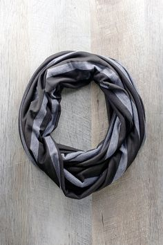 Unisex Gifts Under 25 infinity scarf, linear chevron, black and gray, zig zag design