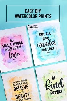 Make gorgeous (cheater) watercolor prints using markers + water creative tutorials for everyday lifeMake gorgeous watercolor prints using markers + waterIn today's post: Learn how to make these beautiful Watercolor Quote, Watercolor Background, Watercolor Art Kids, Watercolor Lettering, Watercolor Cards, Watercolor Paintings, Brush Lettering, Hand Lettering, Over You Quotes