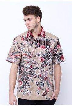 Pria > Batik > Pakaian Print > Atasan > Pradawita Kemeja Batik Aster-Merah > Pradawita