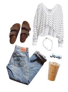 """""""Dude Birks go with everything"""" by annagabriel on Polyvore featuring Levi's, Wildfox and Birkenstock"""