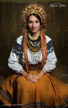traditional wedding dress from Vinnitsa region (Podillya). The authentic wax wreath made on early 20th century.