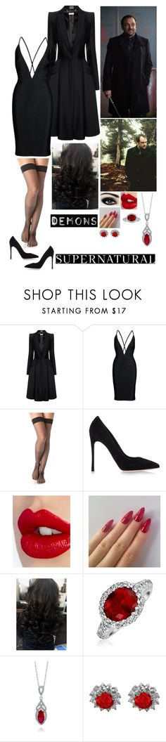 """Crowley's Queen Of Hell"" by alyssaclair-winchester ❤ liked on Polyvore featuring Alexander McQueen, Falke, Gianvito Rossi, Charlotte Tilbury, Bling Jewelry, BERRICLE, supernatural, crowley, Demon and kingofhell"