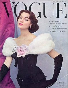 black dress, black gloves, white fur, pink rose ivy nicholson