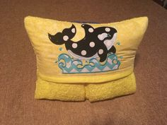 Whale Hooded Bath Towel, Whale and Water Applique Design by MarysCottonShoppe on Etsy