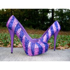 Pink Purple Glitter Heels ($149) ❤ liked on Polyvore featuring shoes, pumps, purple sparkle shoes, pink glitter shoes, decorating shoes, purple shoes and sparkly pumps