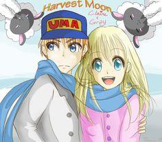 HM: A Claire and Gray X-Mas by juujuu on DeviantArt Harvest Moon Game, Rune Factory, Manga Art, Runes, Smurfs, Claire, Seasons, Deviantart, Grey