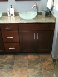 Cliqstudios S Rockford Kitchen Cabinets In Cherry Russet Finish Were Used On This Bathroom Vanity Shaker Style
