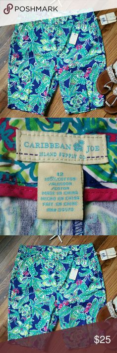 Caribbean Joe bermuda shorts 12 ?Tab waist printed shorts in bright colors.  ?Hits right above the knee ?Back flap pockets ?Quick dry fabric ?New with tags  Please feel free to ask questions. caribbean joe  Shorts Bermudas